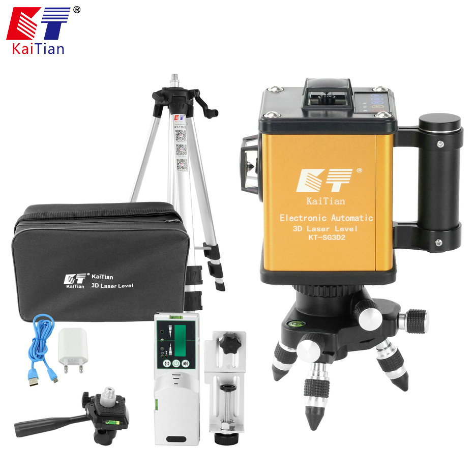 Kaitian 3d Laser Level Leveling Green 12 Lines 5/8 Tripod for Level Nivel a Laser Line 360 Rotary Building Tools Metal Detector