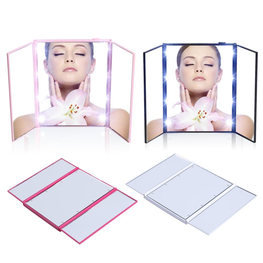 Vanity Mirror Night Lights Travel Portable three-sided folding MakeUp Bathroom Desktop Mirror LED Makeup With Light High Quality