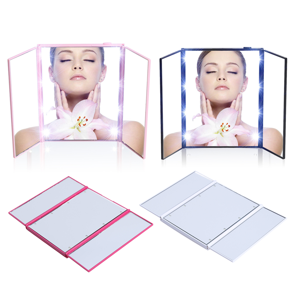 <font><b>Vanity</b></font> <font><b>Mirror</b></font> Night <font><b>Lights</b></font> Travel Portable three-sided folding MakeUp Bathroom Desktop <font><b>Mirror</b></font> <font><b>LED</b></font> Makeup With <font><b>Light</b></font> High Quality