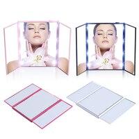 Vanity Mirror Night Lights Travel Portable Three Sided Folding MakeUp Bathroom Desktop Mirror LED Makeup With