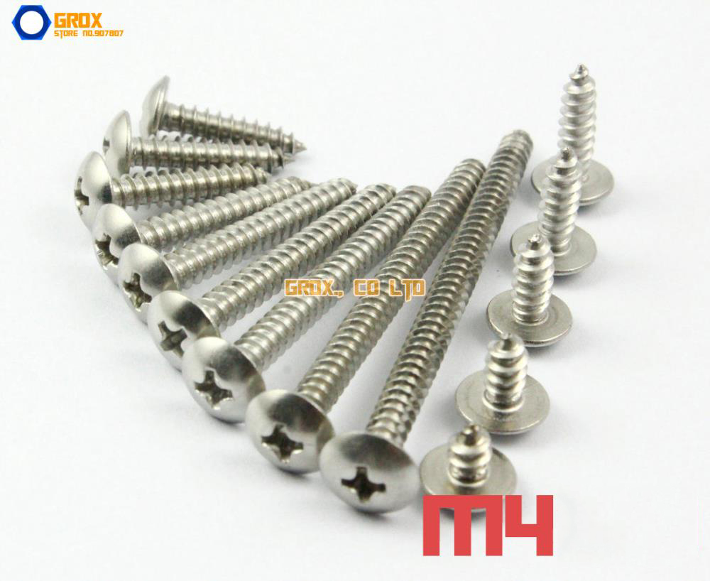 M4 304 Stainless Steel Phillips Truss Head Self Tapping Screws 10pcs m6 16mm m6 16mm 316 ss stainless steel mushroom head sttp screw self tapping screw truss phil screws