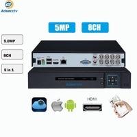2 HDD 5 в 1 Безопасность цифровой видеорегистратор системы видеонаблюдения 8CH 5MP H.265 Гибридный видео Регистраторы для AHD TVI CVI аналоговая ip камер