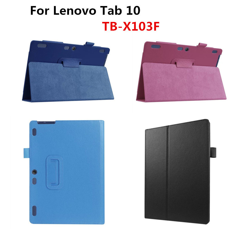 PU Leather Folio Folding Stand Book Case Cover For Lenovo Tab 10 TB-X103F X103F 10.1'' Tablet PC business Lichee Style Cases ultra thin slim stand litchi grain pu leather skin case with keyboard station cover for lenovo ideapad miix 320 10 1 tablet pc