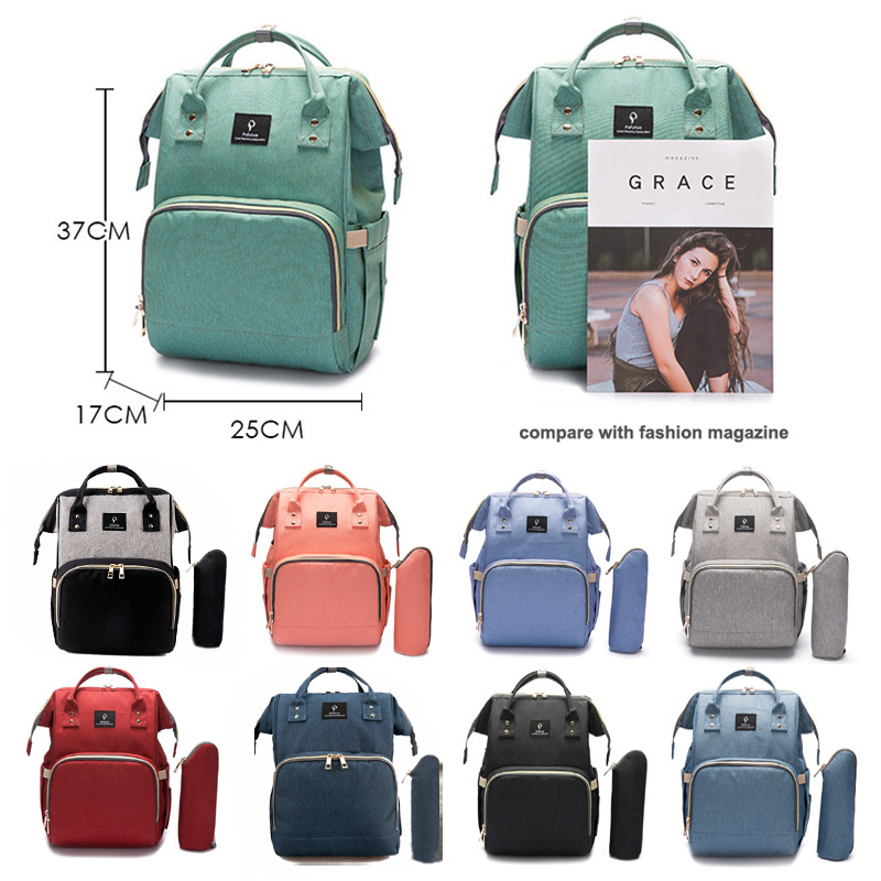 2018 bolsa de pañales con interfaz USB de gran capacidad impermeable bolsa Kits de momia maternidad mochila de viaje de bolso - 2