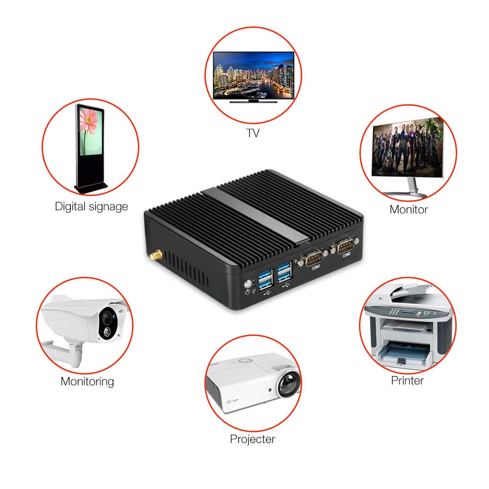 Esperanza Mini PC Dual LAN Celeron N2810 Celeron J1900 Mini computadora Gigabit LAN Windows 7 pfsense firewall PC Mini 2 * COM HDMI TV BOX