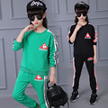Teenager Girls Clothing Set 2PCS Long-sleeves Top+Pants Green Black