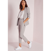 Light Gray Womens Business Suits  Female Office Uniform Ladies Trouser Suits Formal Womens Tuxedo 9 Points Pants 2 Piece Suits