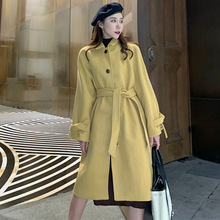 Trench Coat Womens Medium Style Warm Winter Longline Fall Overcoat With Lacing