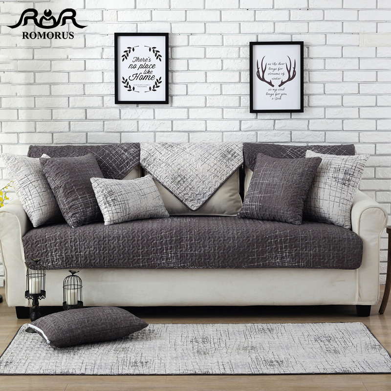 US $10.58 30% OFF|1 Piece Modern Gray 100% Cotton Sofa Cover Set Sectional  Sofa Slipcovers Towel High Slip resistant Couch Cover for Leather Sofas-in  ...