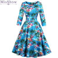 MisShow Autumn Sun Flower Floral Printed Vintage Dress 2018 Navy Blue Long Sleeve Plus Size Dress with Bow Robe Dentelle