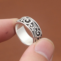 FNJ Ring 925 Silver Jewelry New Fashion S925 Sterling Silver Rings for Women Men Big Size 7.5 12.5 bague Flower Pattern