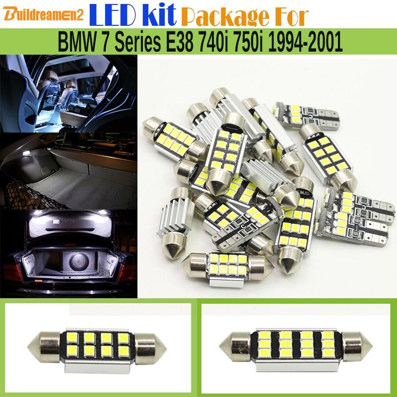 Buildreamen2 7 x Car 2835 SMD Canbus LED Bulb Error Free Interior LED Kit Package White For BMW 7 Series E38 740i 750i 1994-2001 free shipping 60 17x a4 s4 b5 1998 2001 white led lights interior package kit canbus
