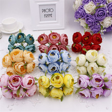 new 2016 6pcs/lot 4.5cm artificial flowers simulation DIY small silk cloth roses tea bags handmade wedding ball decoration