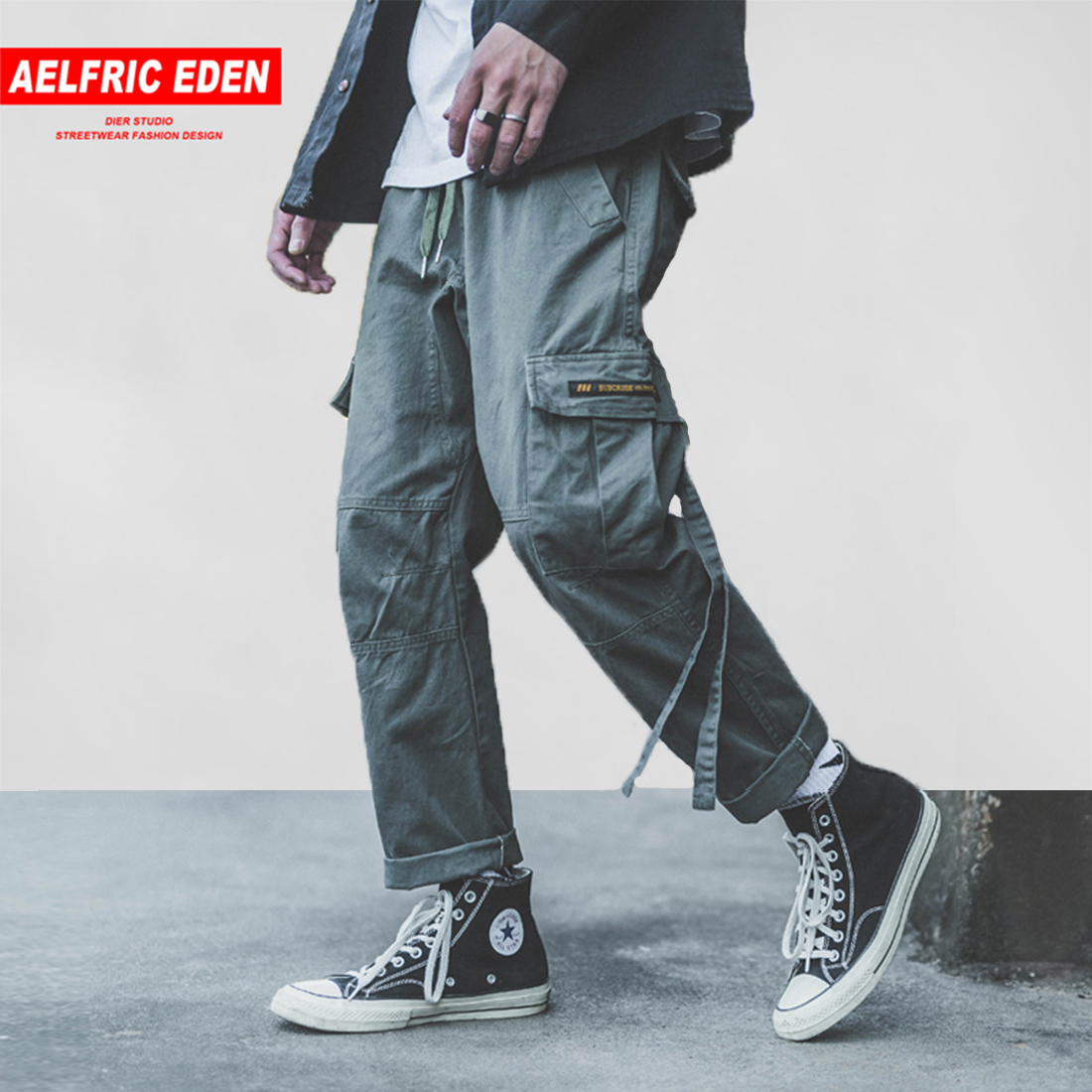 2019 New Style Aelfric Eden New Design 2018 Autumn Harajuku Mens Pants Hip Hop Casual Multi Pockets Fashion Joggers Patchwork Streetwear B054 Selected Material