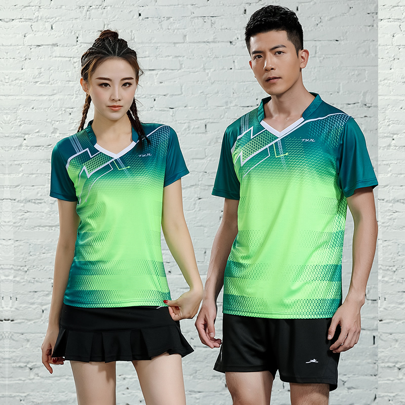 2019 New Men & Women Badminton Jersey Sports Badminton Training Suit Short-sleeved Shuttlecock Shirt Table Tennis Tops(China)