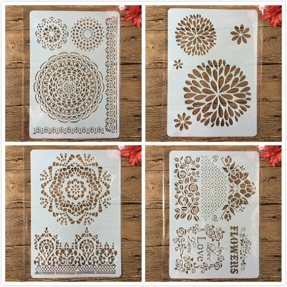 4Pcs A4 Round Circle Flower Crown Edge Frame DIY Layering Stencils Painting Scrapbooking Stamping Embossing Album Card Template