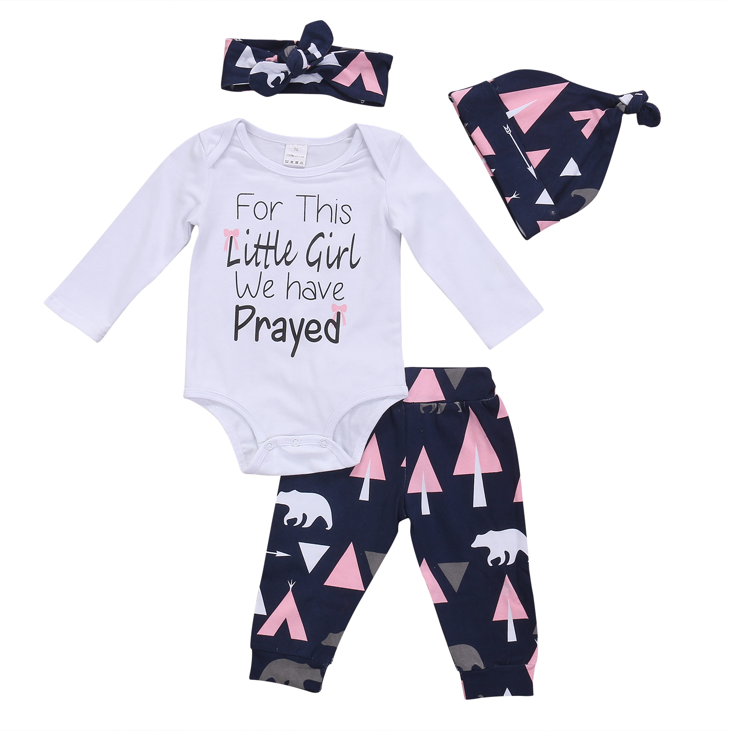 Pudcoco 4Pcs Newborn Cute Baby Girls Clothes Set Long Sleeve Cotton Tops Romper Pants Hat Outfits Set Clothing