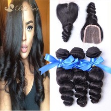 7A Cheap Peruvian Loose Wave With Closure Unprocessed Virgin Hair Lace Closure With Bundles High Quality Human Hair Weaves