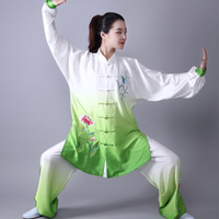 3PC Women Traditional Chinese Embroider Flower Long Sleeve Wushu TaiChi KungFu Uniform Suit Uniforms Tai Chi Exercise Clothing