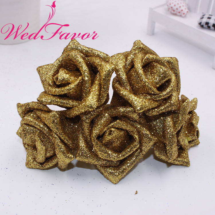 Image 2 - 50pcs 5 6cm Artificial Glittered EVA Foam Rose Flower Bridal Bouquet For Home Event Wedding Decoration-in Artificial & Dried Flowers from Home & Garden