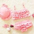 Милый Сладкий кружева детские купальники костюм + колпак, малыш бикини детские три части