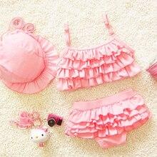 Mignon Doux dentelle bébé maillot de bain + cap, enfant bikini bébé trois pièces