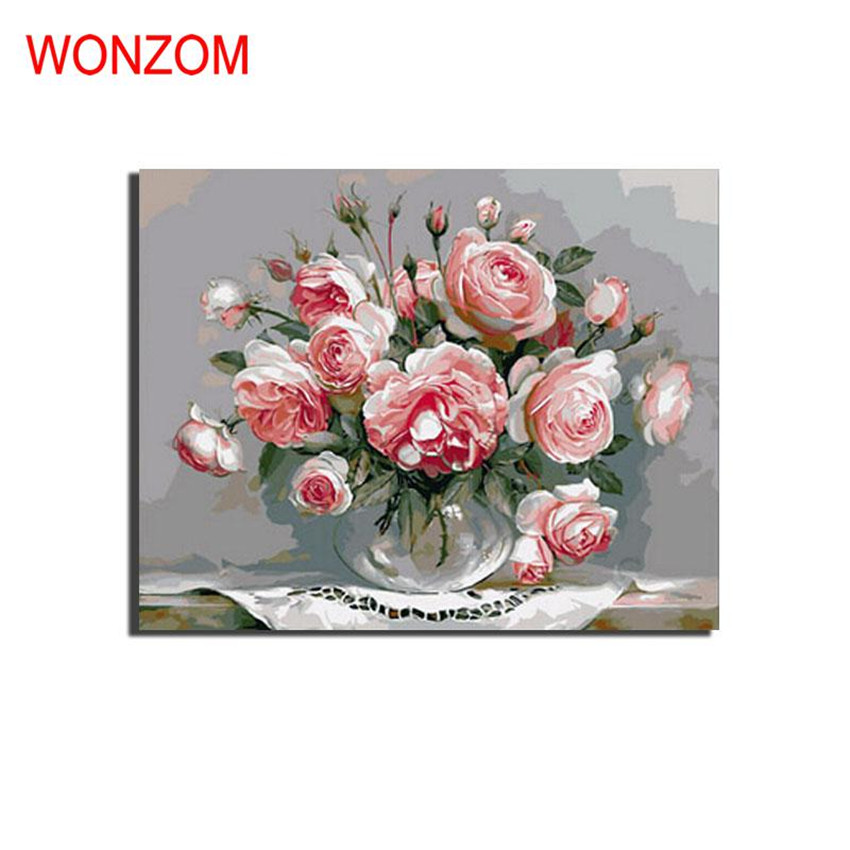 Gorgeous Flowers Vase Painting By Numbers On Canvas Diy