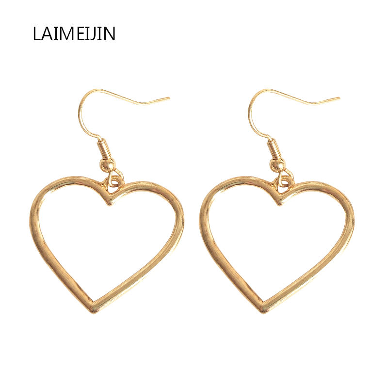 New Sweet Heart Shaped Earrings Harajuku Temperament Hollow Geometric Love Earrings For Women Female Jewelry Accessories Brincos