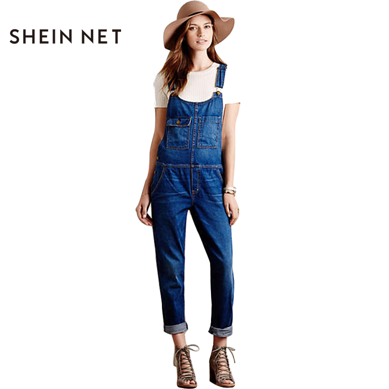 Sheinnet Store Sheinnet Blue Casual Denim Overalls Female Jumpsuit Romper Loose Autumn Loose Women Jumpsuit Buttons Chic Basic Overall