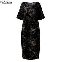 ZANZEA 2017 Womens Floral Printed Short Sleeve Cotton Linen Maxi Long Dress Loose Baggy Boho Casual