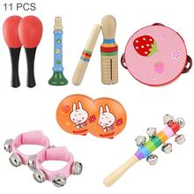 11pcs 4 Inch Percussion Musical Instruments Set Tambourine Maracas Wrist Bells Mixed Kit for Children Baby Early Education