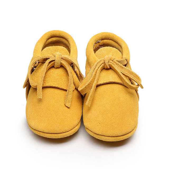 9 Colors Hot Sale Soft Sole Baby Girls Boys Fringe Genuine Leather First Walkers Newborn Lace-Up Moccasins Kids Toddler Shoes