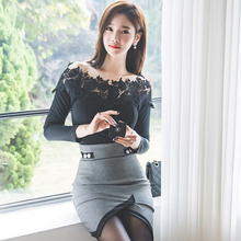 Autumn and winter women dress long sleeve 2 piece black colour lace top High Waist Bandage Bodycon Sexy Party package hip dress