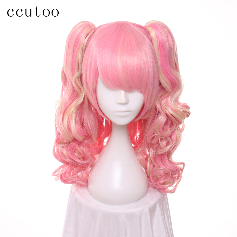 ccutoo 65cm Long Wavy Pink Yellow Mix Synthetic Wig Hair Heat Resistance Fiber Cosplay Costume Wig With Double Chip Ponytails