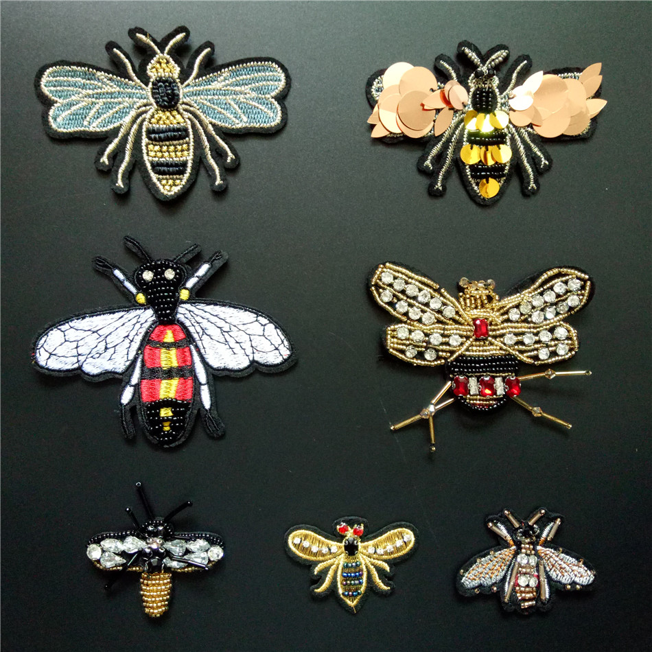 Fabric Rhinestone Beaded Sew on Patch Crystal Applique Bee Badge Sequin Patches