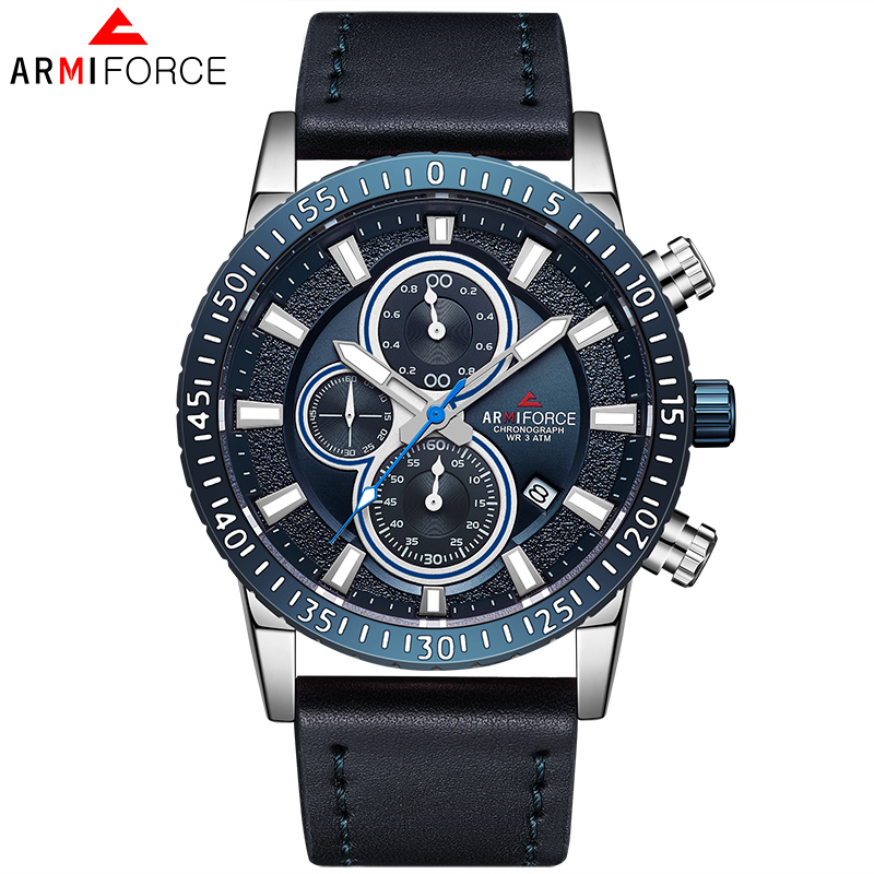 2018 ARMIFORCE Quartz Watches Men Luxury Brand Mens Chronograph Sport Watch Male Leather Waterproof Wristwatch Relogio Masculino oulm mens designer watches luxury watch male quartz watch 3 small dials leather strap wristwatch relogio masculino