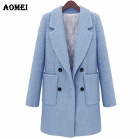 Fall Winter Woolen Coat Thick Quilted Oversize for Women White Blue Outerwear Double Buttons Long Sleeves Wool Autumn Fashion