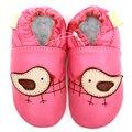 Кожа девочка мокасины животных розовый птица мультфильм детская обувь парни малышей детские девочка тапочки обувь