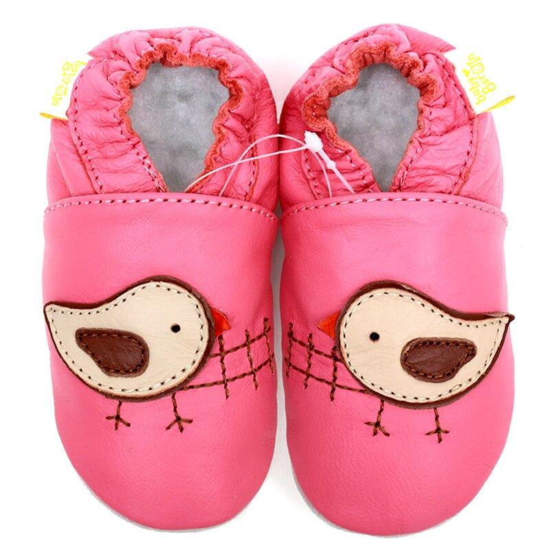 Läder Bebisskor Flicka Baby Mockasiner Animal Pink Bird Cartoon Spädbarnsskor Pojkar Småbarn Barnskor Flickor Baby tofflor Skor