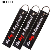 CLELO Bag Accessories bag Pendant Embroidery The Key to Happiness Ornament with Key Chains Tag Keyring for backpack 3pcs/lot