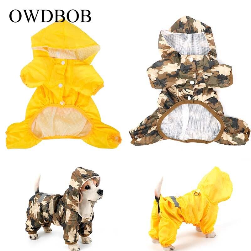 OWDBOB Dog Raincoat Pet Dog Puppy Waterproof Jacket Costumes Reflective Rain Coat Clothes Camouflage Cloak Casual Pet Supplies
