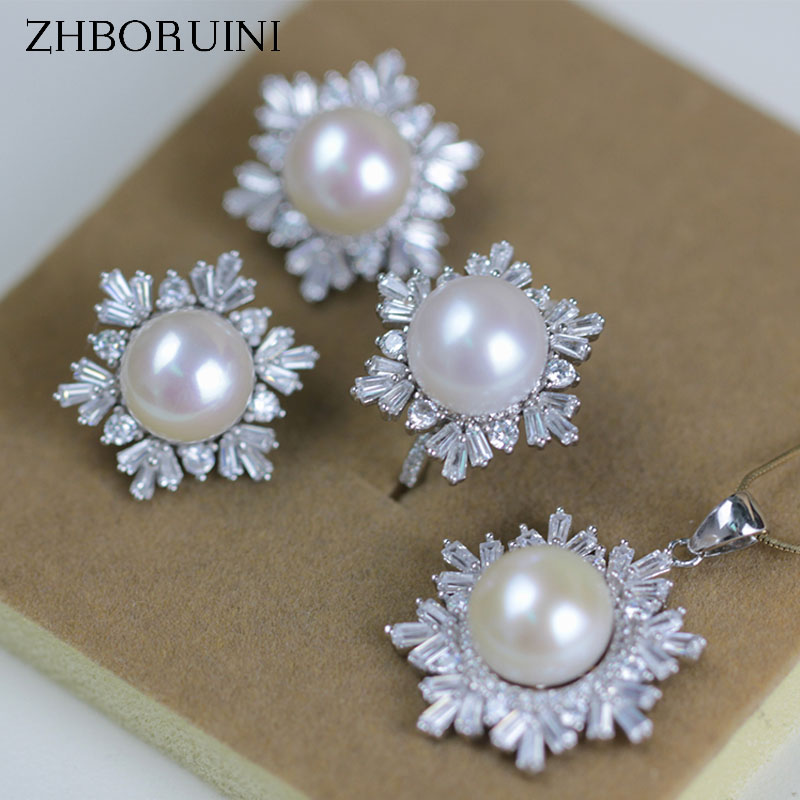 ZHBORUINI 2017 Fashion Pearl Jewelry Set Natural Pearls Snowflake 925 Sterling Silver Necklace Earrings Pendant Ring For Women