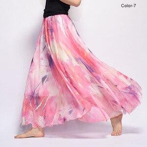 Image 3 - Women Fashion Florals Print Long Skirt Female Boho Style Elastic High Waist Chiffon Casual Beach Skirts Saias 19 Color Summer