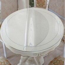 ПВХ водонепроницаемая скатерть, круглая скатерть, покрытие для стола, прозрачная кухонная скатерть с рисунком масла, стеклянная мягкая ткань 1,0 мм, коврик