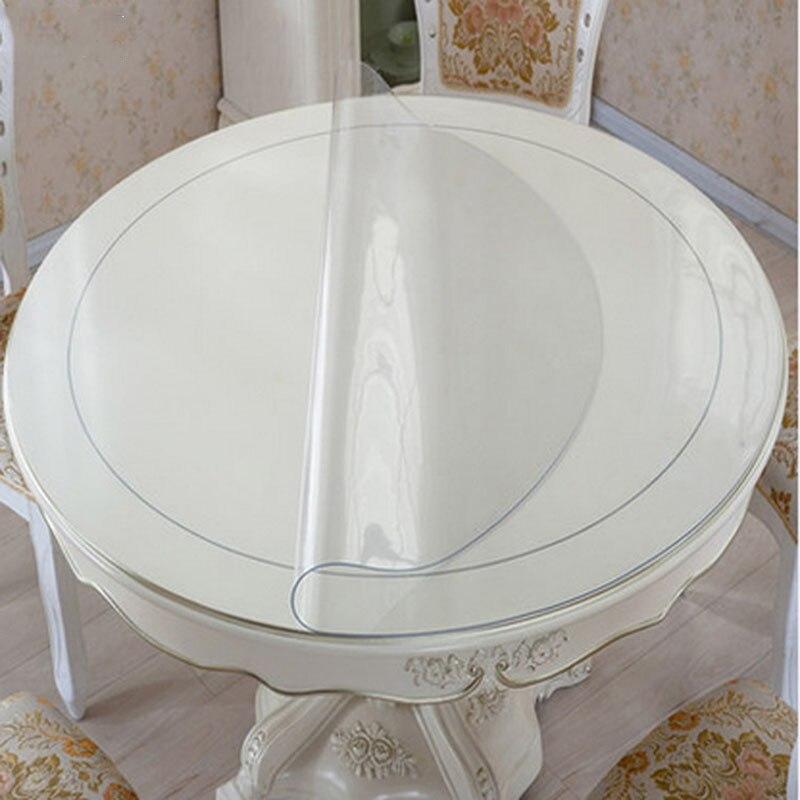 Nappe imperméable en Pvc nappe ronde couverture de Table motif de cuisine Transparent nappe d'huile tissu souple en verre 1.0mm mat
