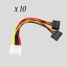 10 adet seri ATA SATA 4 Pin IDE Molex 2 of 15 Pin HDD güç adaptörü kablosu sıcak dünya çapında promosyon