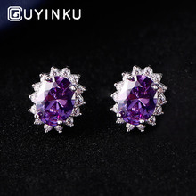 GUYINKU Classic Diana Princess Real 925 Silver Jewelry Colorful Gemstone Stud Earrings For Women Anniversary Gift Fine
