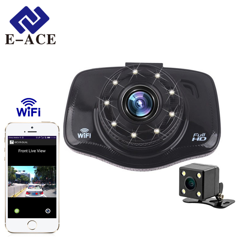 buy online e ace wifi car dvr camera fhd 1080p mini auto video recorder two cameras portable. Black Bedroom Furniture Sets. Home Design Ideas