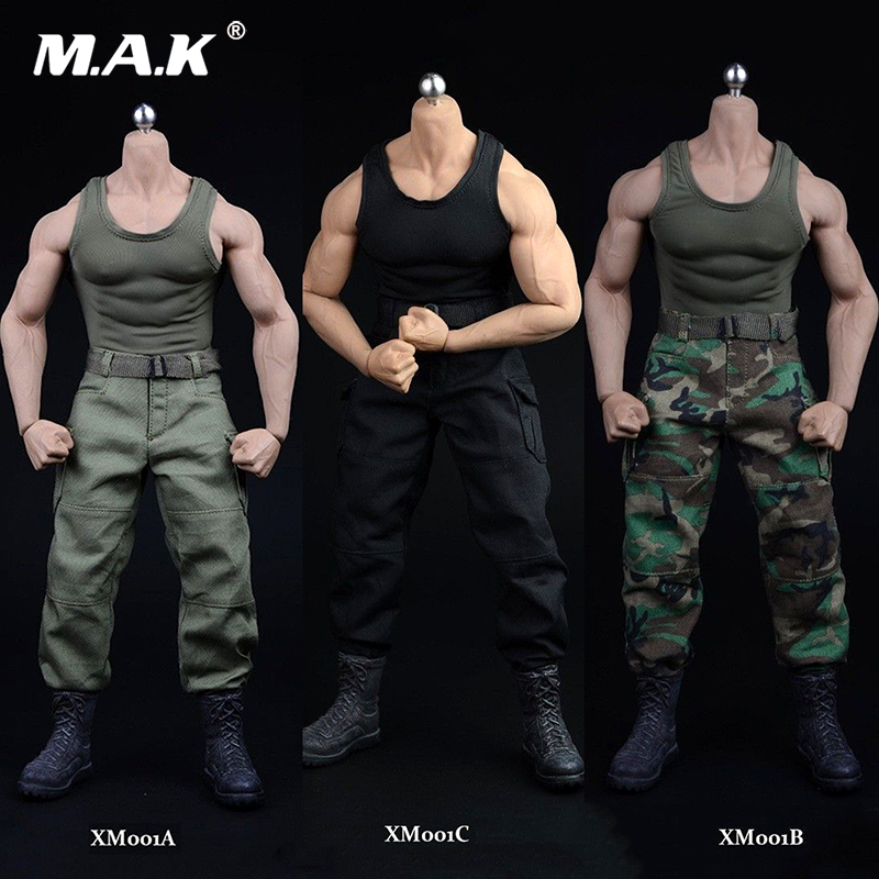 3 Colors 1/6 Scale Black Vest Pants Belt Shoes Model For M34 M35 Strong Muscle Male Body 12 Inches Action Figure Accessories