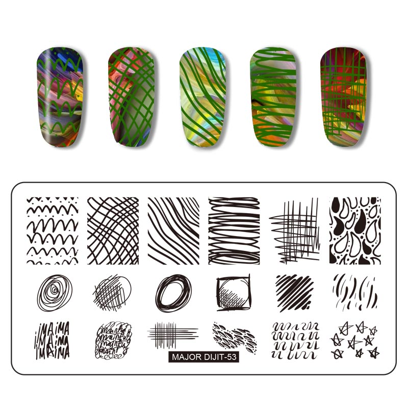 1pc Weather Series Rectangle Nail Stamping Plates Template Design Manicure Art Stamp Image Plate